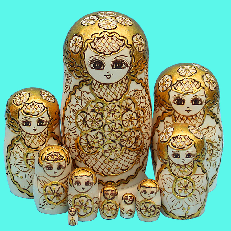 10pcs/set Wood Doll Russian Nesting Dolls Golden ...