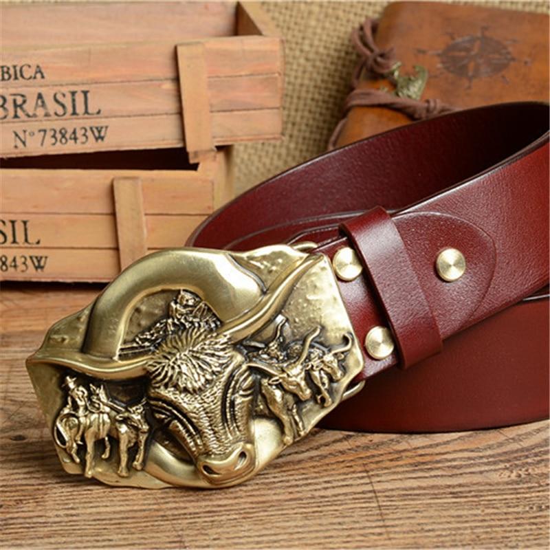 Aliexpress.com : Buy Cowboy Belt Brass Bull Buckle Mens Belts Luxury Genuine Leather Men Belt ...
