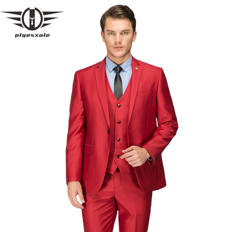 Plyesxale Red Suit Men 2018 Slim Fit Three Piece Wedding ...