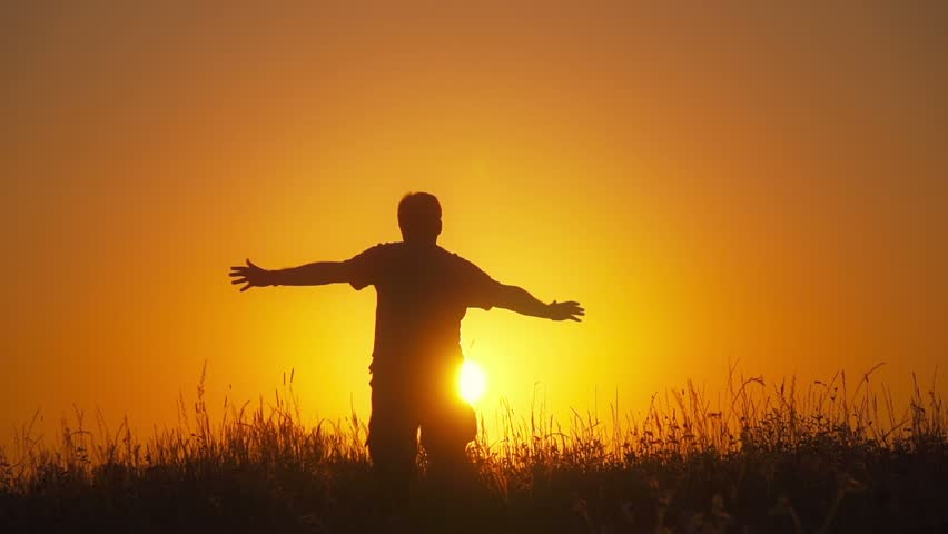 Young Man Reaching The Goal Worship God Stock Footage ...