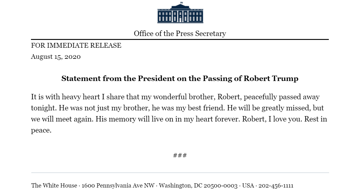 President's Brother Robert Trump Dead at 72