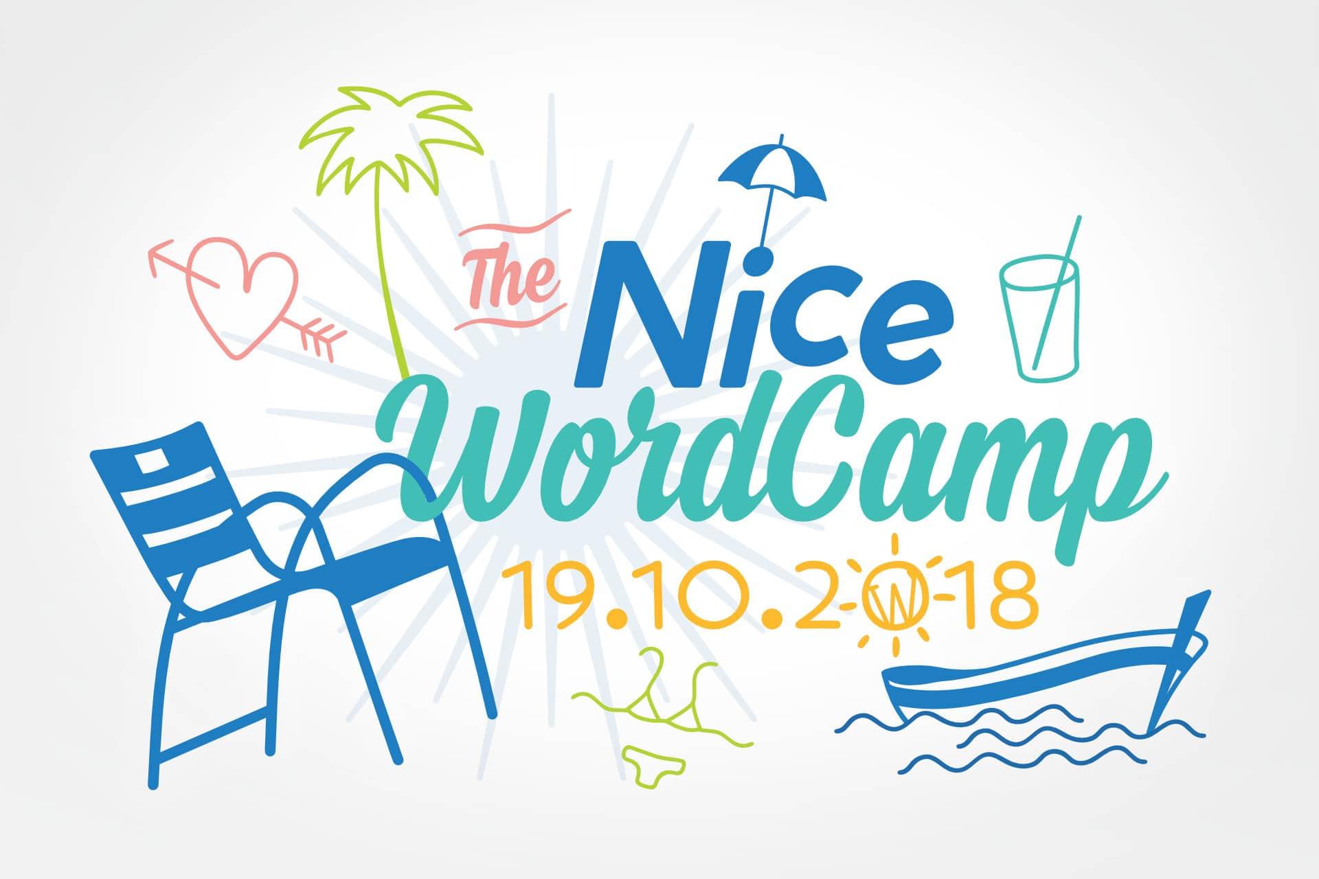 WordCamp Nice 2018, identité visuelle - Anybodesign