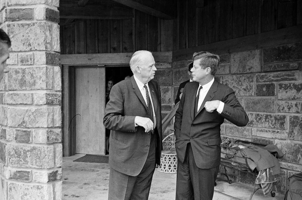 ST-M14-7-61. President John F. Kennedy with Senator Robert ...