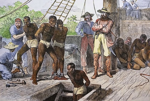 African Slaves Being Taken on Board Ship Bound for the USA ...