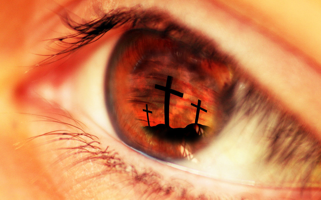Close up eye red - Jesus - Cross | adapted from onesimus ...