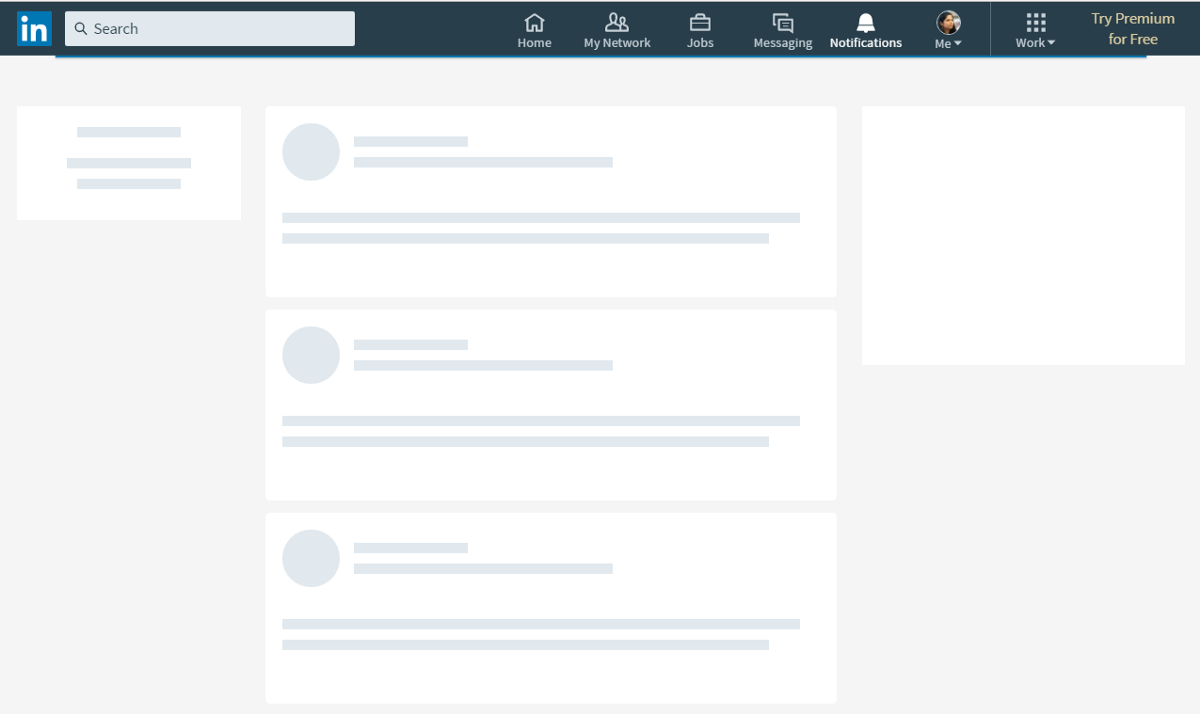 skeleton screen of LinkedIn