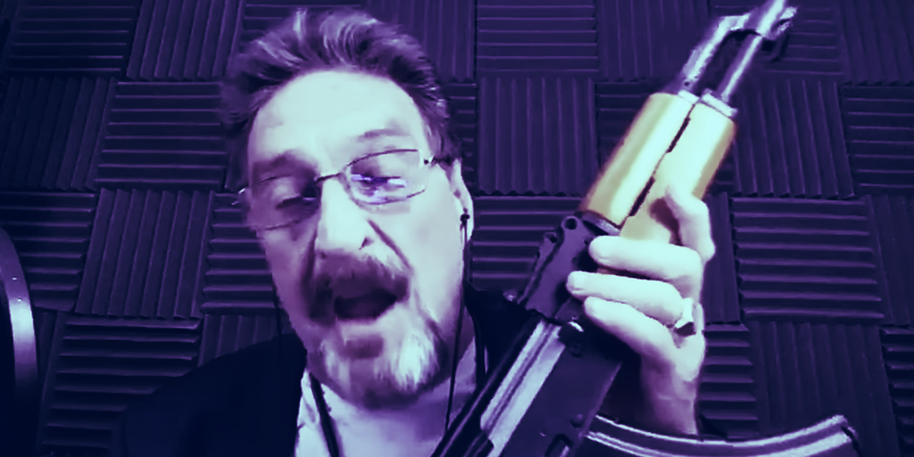 John McAfee: Coronavirus is a government plot, grab your guns. Even crypto can't save us now, the eccentric tech guru said from his place of hiding.