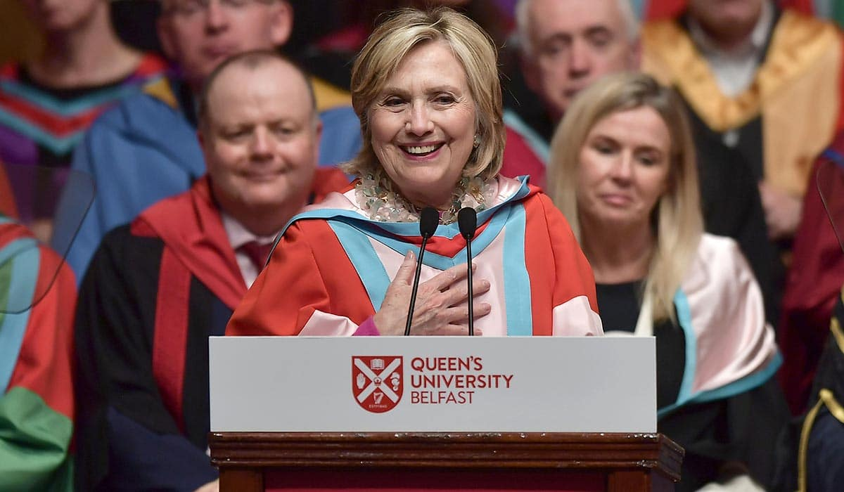Hillary Clinton named chancellor at Queen's University Belfast in Northern Ireland….