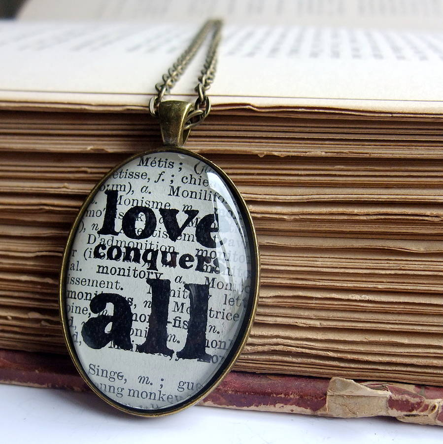 'love Conquers All' Bronze Pendant Necklace By Bookishly ...