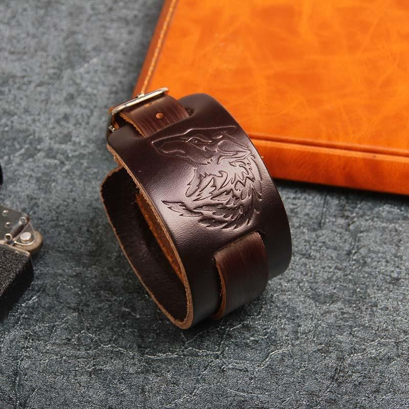 Wolf Head Leather Cuff Bracelet - PurpliKi