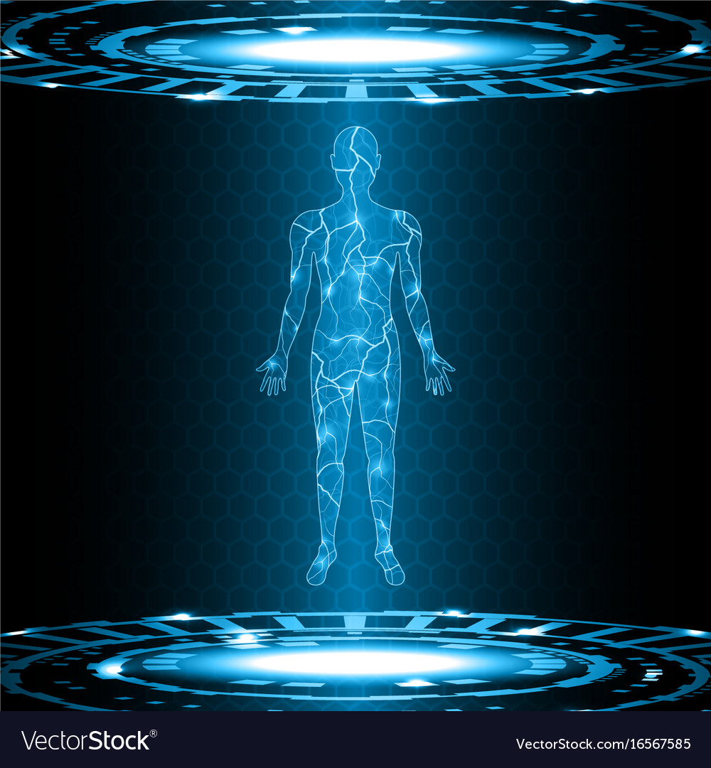 Technology future electric current human body Vector Image