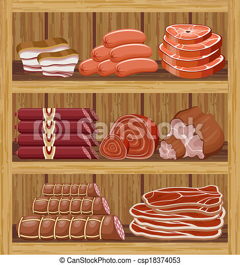 Clipart Vector of Shelfs with meat products. Meat market ...