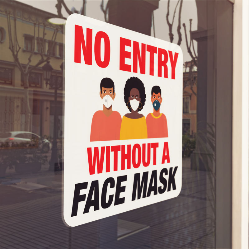 No Entry Face Mask Window Cling Sign | Copy Cat Jamaica