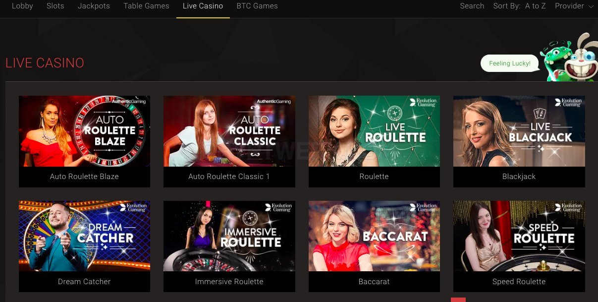 High rollers at Bitstarz prefer to play in the Live Casino