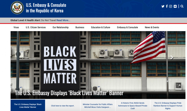Black Lives Matter and LGBTQ Pride Banners Removed From U.S. Embassy in South Korea