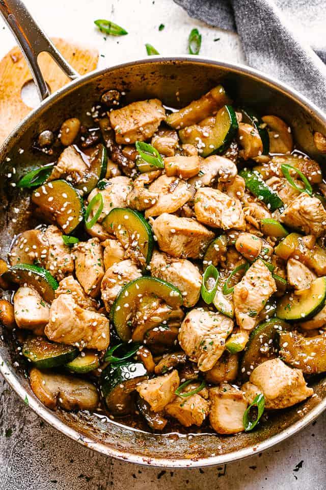 Easy Zucchini Mushroom Chicken Stir Fry Recipe | Diethood