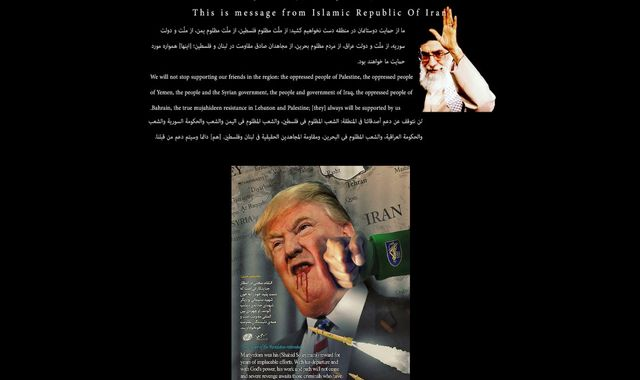 Hackers briefly deface website for U.S. government library with pro-Iranian message and an image of a bloodied Trump…