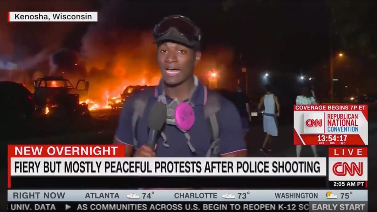 CNN panned for on-air graphic reading 'fiery but mostly ...