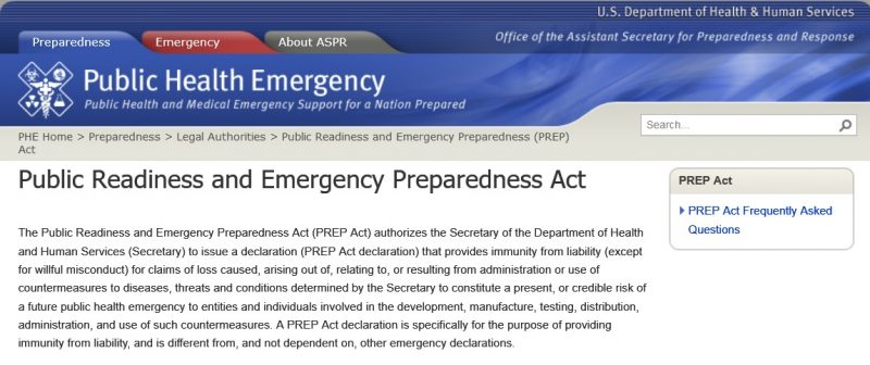 PREP Act Invoked Nationwide for the First Time in U.S ...