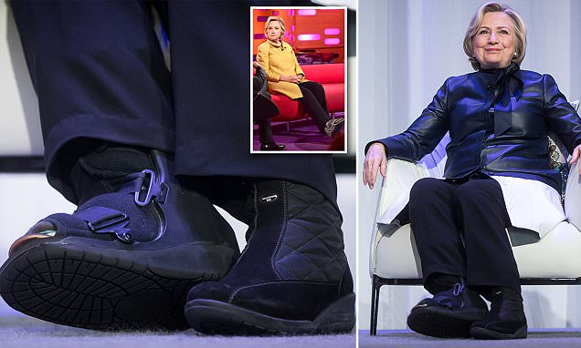 Hillary Clinton wears surgical boot months after toe break ...