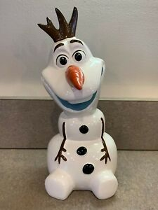 "Disney Frozen Olaf the Snowman 8"" Ceramic Coin Bank Collectible 