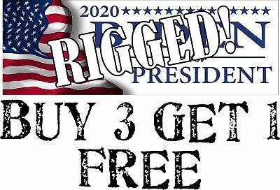"""Rigged Election 2020 Bumper Sticker - 8.7""""x3"""" Trump Biden ..."""
