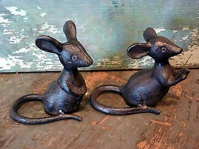 Cast Iron Metal Set/2 Mice Mouse Rodent Figurine Statue ...