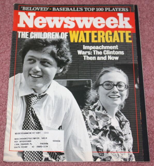 NEWSWEEK MAGAZINE - 10/19/98 - BILL & HILLARY CLINTON ...