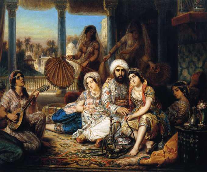 THE PASHA AND HIS HAREM ORIENTAL PAINTING BY FRANCOIS ...