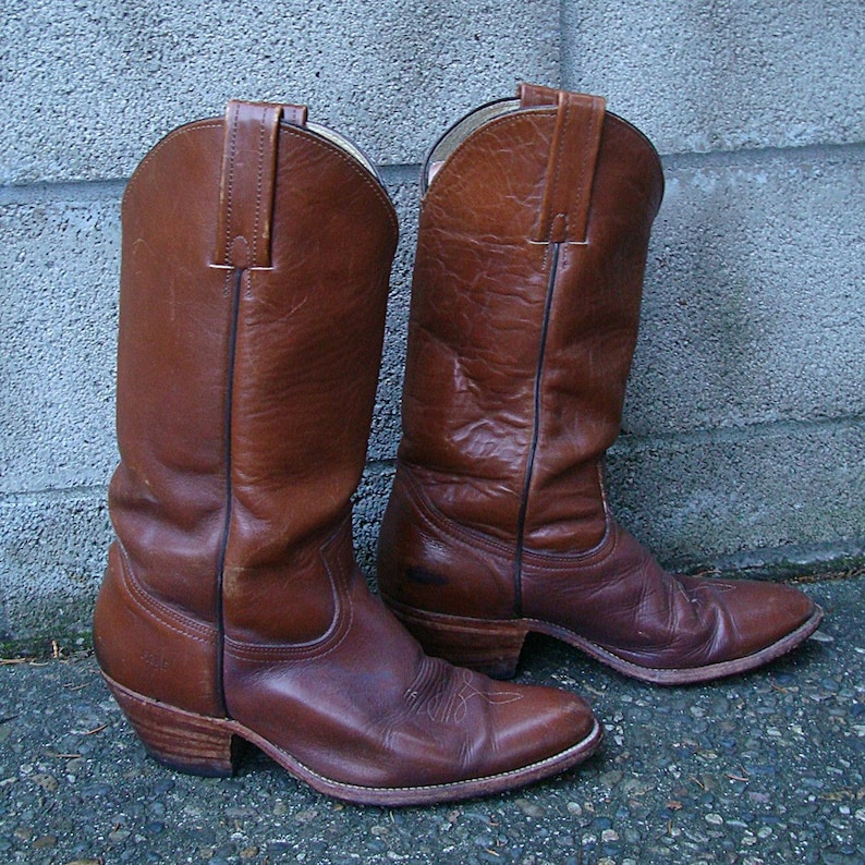 Vintage 1970s Frye Brown Leather Cowboy Boots Men's 10 1/2 | Etsy