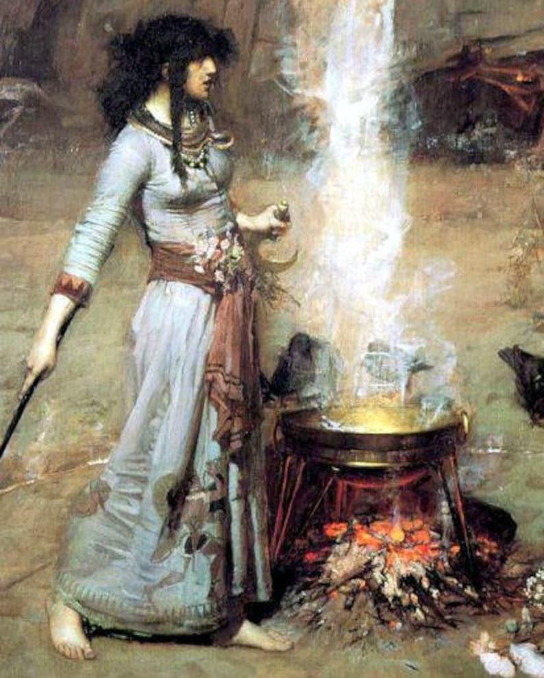 John William Waterhouse. Magic Circle. witch at cauldron ...