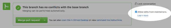 Screenshot showing GitHub option for allowing changes to a pull request