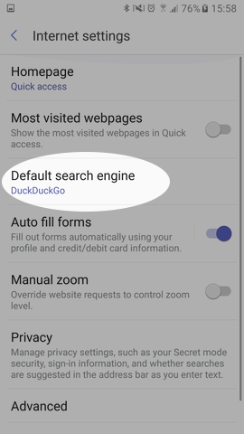 Screenshot showing Samsung Internet Settings menu