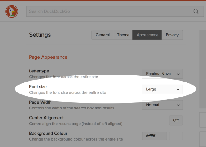 Screenshot of DuckDuckGo font settings