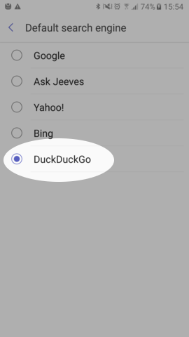 Screenshot showing DuckDuckGo set as the default search engine in Samsung Internet