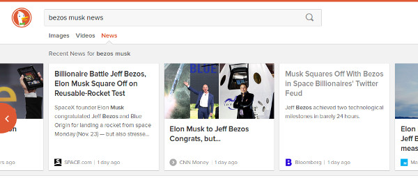 Screenshot of results page for 'bezos musk news'.