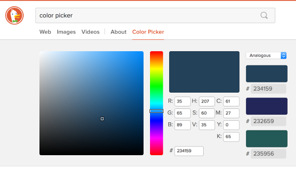Screenshot of the DuckDuckGo color picker