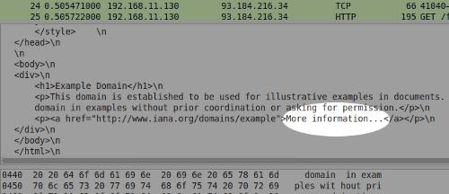 Wireshark screenshot showing plain text