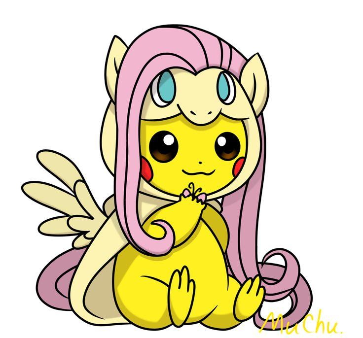 #1948435 - artist:muchu, fluttershy, pikachu, pokémon, safe - Derpibooru - My Little Pony ...