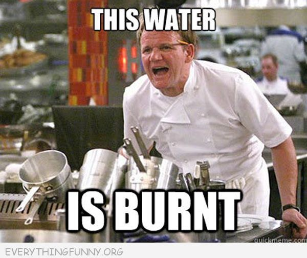 funny gordon ramsey meme this water is burnt | Quotes ...