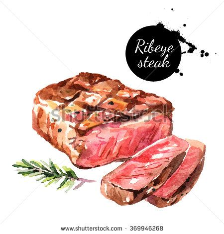 Watercolor ribeye steak. Isolated food illustration on ...
