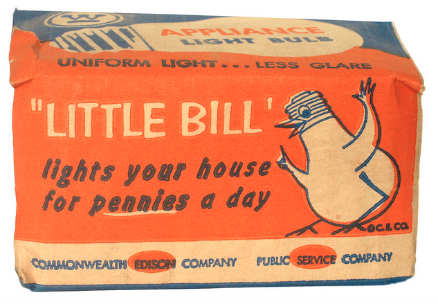 Vintage light bulb package from the 1950's featuring Commonwealth Edison's classic icon ...