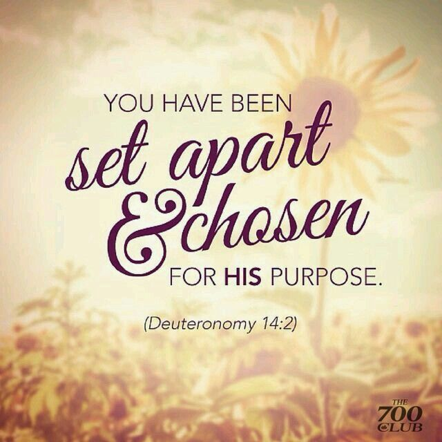 You have been chosen and set apart for His purpose ...