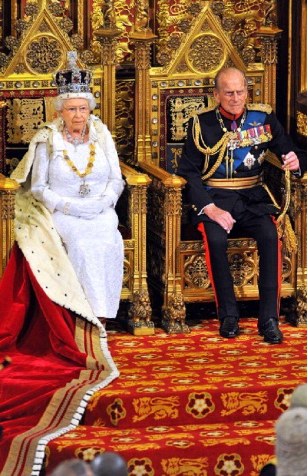 Queen Elizabeth II sits with Prince Philip, Duke of ...
