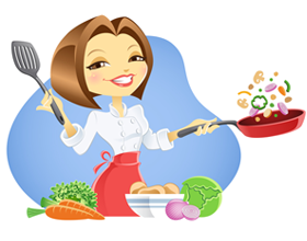 Chef Lady with Skillet | Illustration, Girl cartoon ...