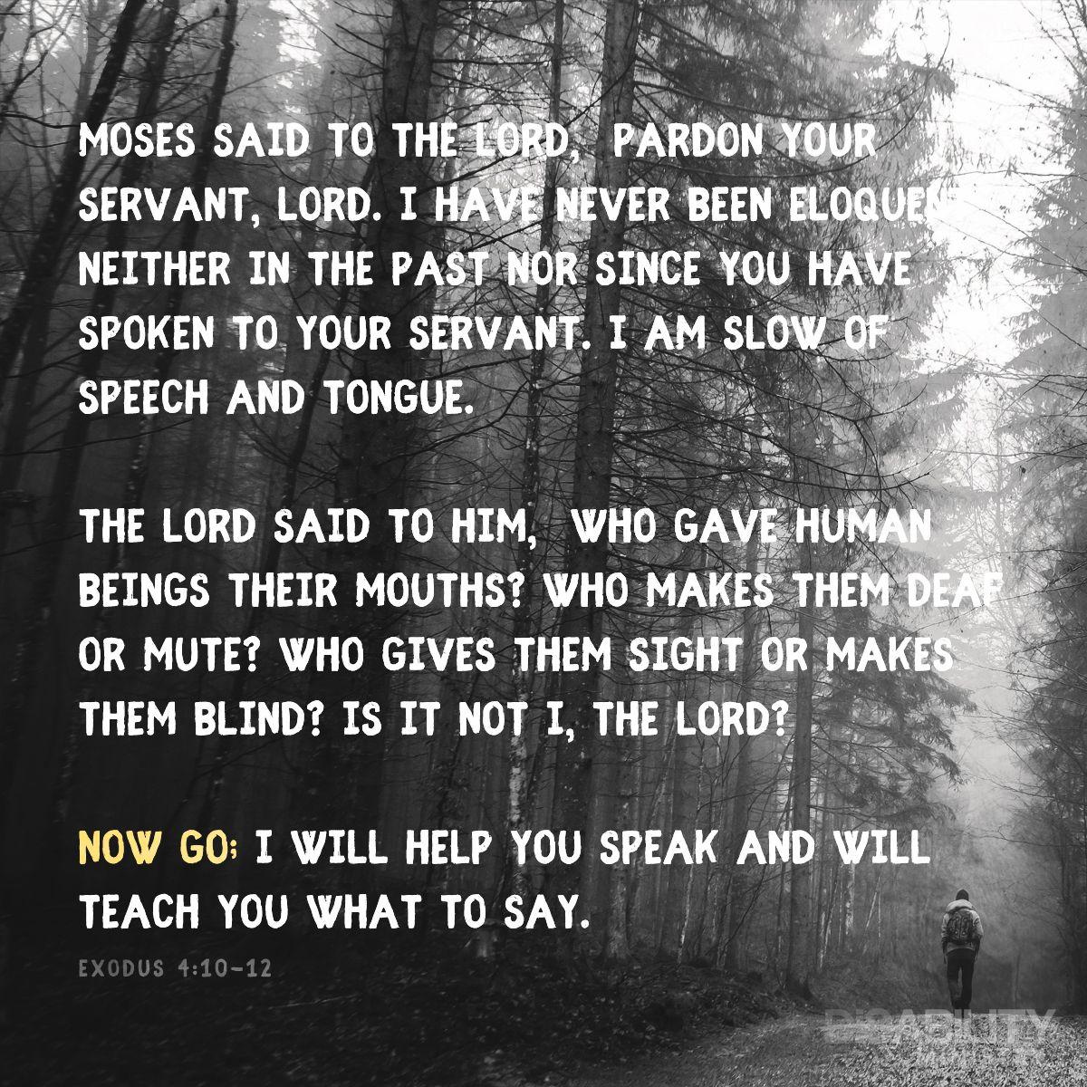 Exodus 4:10-12 | Spiritual growth, Bible study, Spirituality