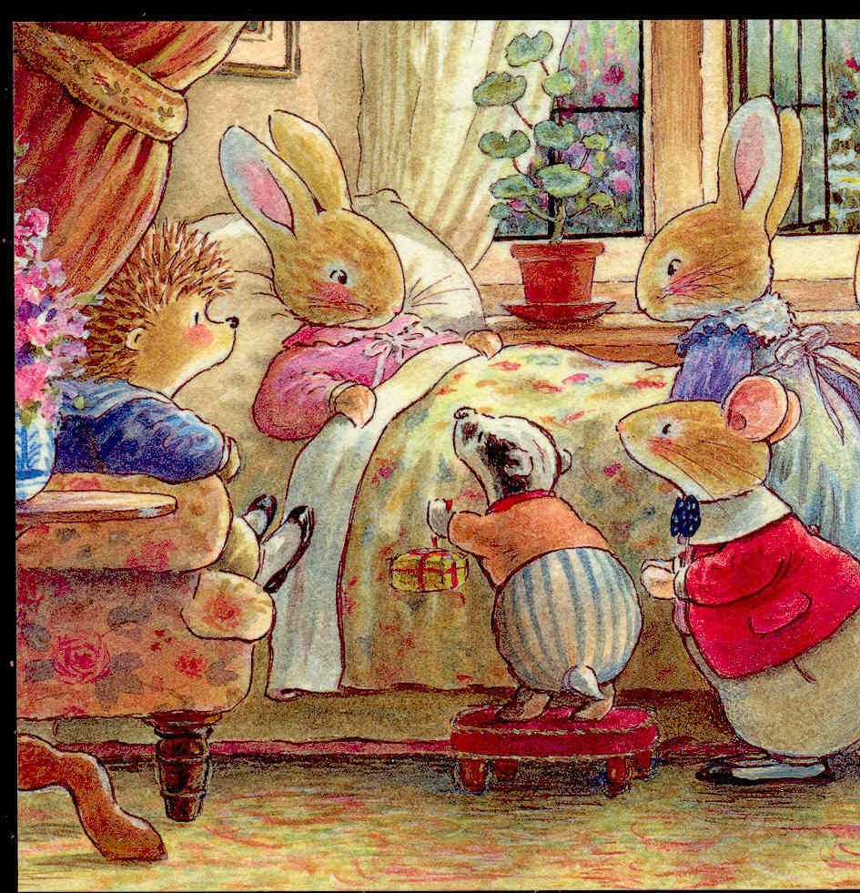 FRIENDS VISIT SICK FRIEND,RABBIT,MOUSE,HEDGEHOG,BADGER,FOXWOOD TALE POSTCARD | Afbeeldingen ...