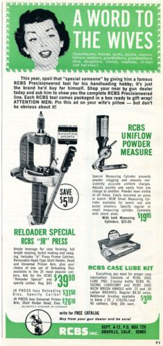 1965-Print-Ad-of-RCBS-Inc-JR-Bullet-Reloader-Press-a-word-to-the-wives | Print ads, Ads, Vintage ...