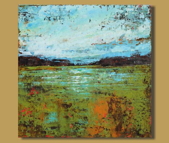 RESERVED for Darlene The Flooded Field 12x12 abstract art ...