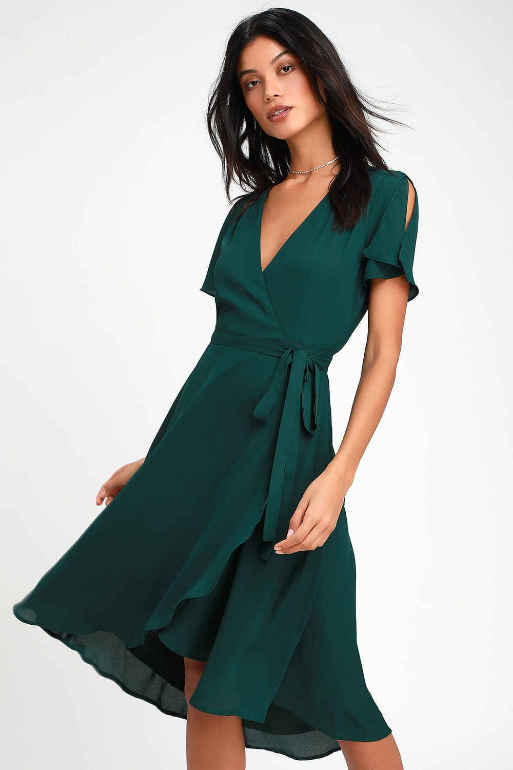 Rise to the Occasion Emerald Green Midi Wrap Dress (With ...